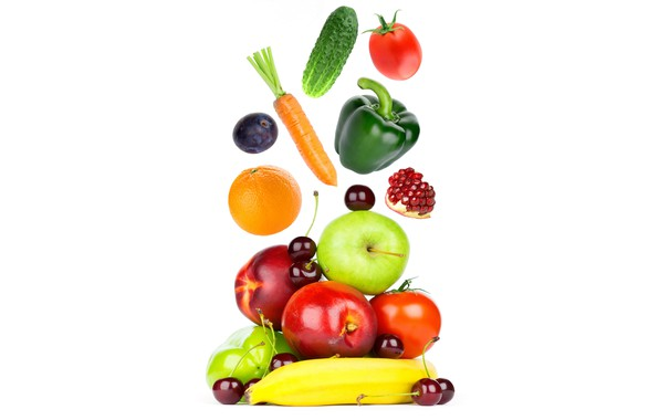 Картинка вишня, яблоки, апельсин, огурец, белый фон, перец, фрукты, банан, овощи, помидоры, морковь, гранат, слива