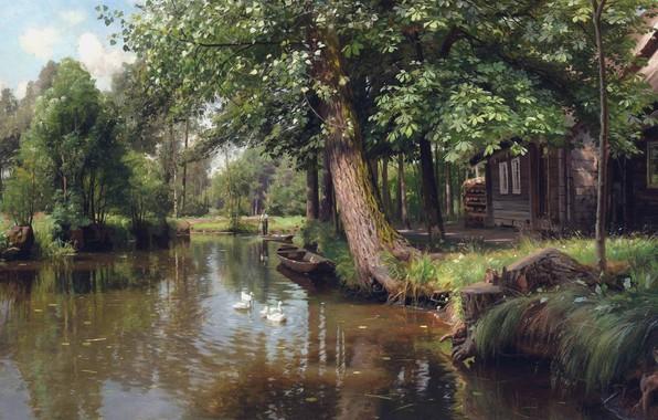 Картинка 1914, датский живописец, Петер Мёрк Мёнстед, Peder Mørk Mønsted, Danish realist painter, Плывущий по реке, …