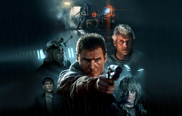 Фото обои Cyberpunk, Harrison Ford, Blade Runner
