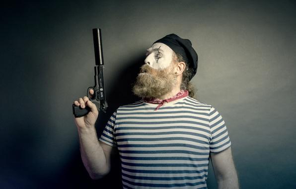 Картинка пистолет, оружие, человек, мим
