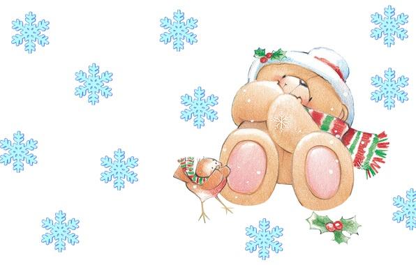 Картинка зима, настроение, арт, мишка, Новый год, птичка, снежинка, детская, Forever Friends Deckchair bear