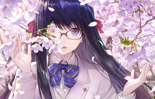 Картинка ветки, лицо, весна, руки, сакура, очки, девочка, школьница, бант, цветение, длинные волосы, челка