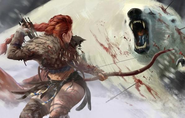 Картинка девушка, снег, кровь, лук, Медведь, стрела