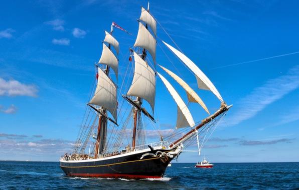 Картинка море, парусник, катер, бриг, Северное море, Бриг Morgenster