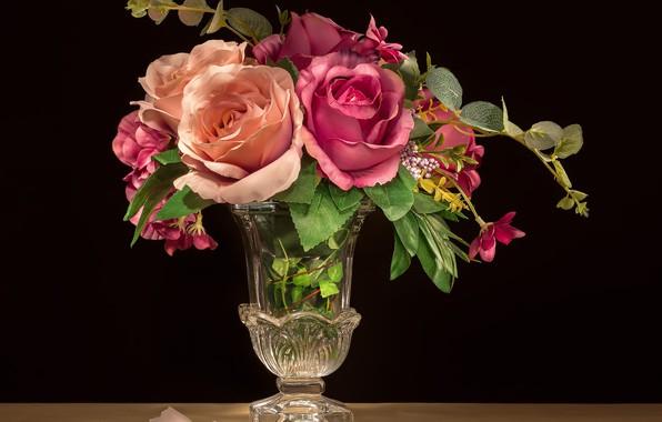 Картинка цветы, розы, лепесток, вазочка