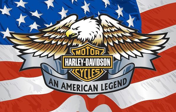Картинка Бренд, Орёл, Харлей Девидсон., Американский флаг
