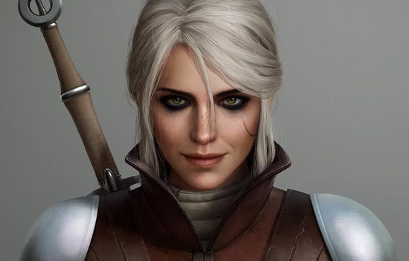 Картинка девушка, меч, ведьмак, шрам, The Witcher 3 Wild Hunt, ciri, Cirilla Fiona Elen Riannon, cirilla, ...