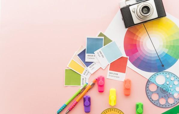 Картинка цвета, палитра, ручки, разноцветный, линейки, фотоаппапрт