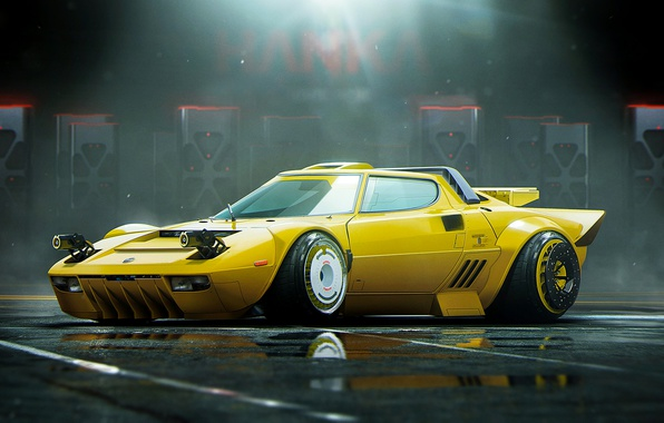 Картинка Yellow, Lancia, Tuning, Future, Stance, Stratos, by Khyzyl Saleem