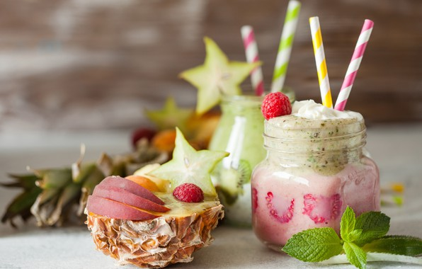Картинка ягоды, малина, киви, напиток, фрукты, ананас, банан, смузи