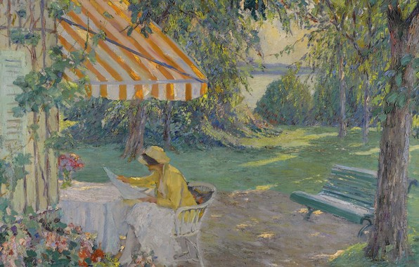Картинка девушка, картина, скамья, Эдуард Какуел, Edward Cucuel, Лето на Озере Штарнберг