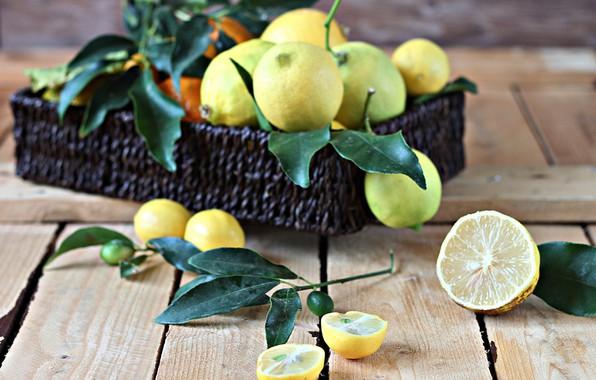 Картинка коробка, цитрусы, wood, лимоны