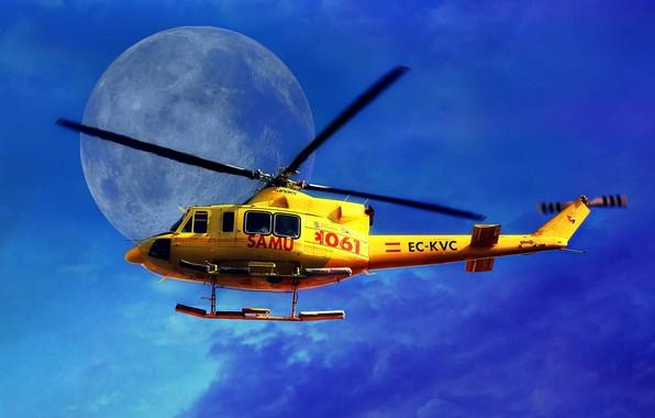 Картинка небо, Луна, вертолет, лопасти