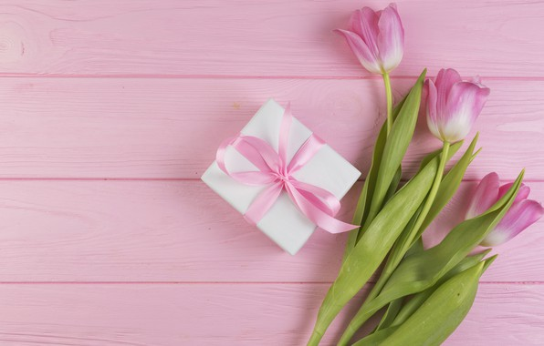Картинка цветы, подарок, букет, тюльпаны, love, розовые, fresh, wood, pink, flowers, romantic, tulips, gift, spring, with ...