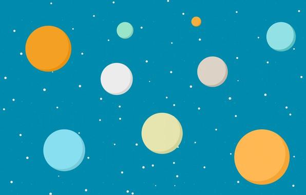 Картинка небо, звезды, краски, планеты, круг, текстура, точка