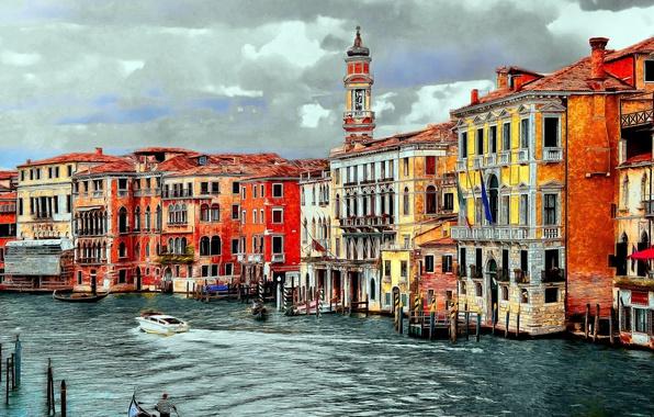 Картинка Дома, Рисунок, Италия, Венеция, Здания, Арт, Art, Italy, Venice, Italia, Venezia, Grand Canal, Гранд Канал