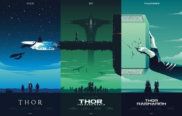 Картинка фантастика, коллаж, молот, постер, art, персонажи, films, комикс, Thor, фан арт, MARVEL, трилогия, god of …