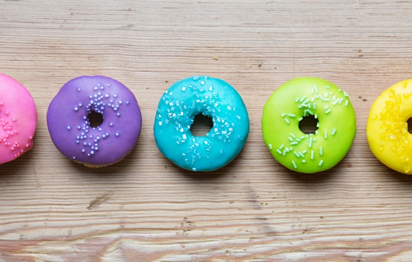 Картинка colorful, rainbow, пончики, глазурь, donuts