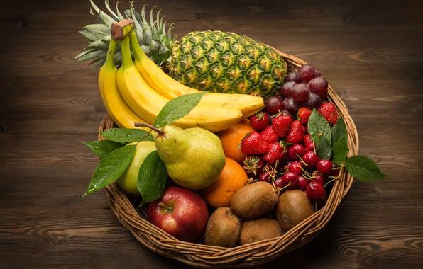 Картинка корзина, яблоко, апельсин, киви, клубника, виноград, груша, фрукты, ананас, банан, черешня