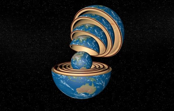 Фото обои космос, шар, земля, матрёшка, Земля