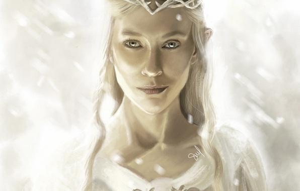 Картинка девушка, властелин колец, арт, эльфийка, диадема, the lord of the rings, Галадриель, Galadriel