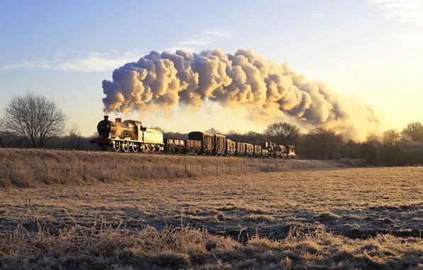Фото обои железная дорога, паровоз, поезд