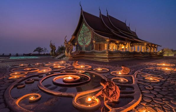 Картинка lights, monk, Мьянма, temple, Myanmar, Buddhism, Korawee Ratchapakdee, Glow in the Dark