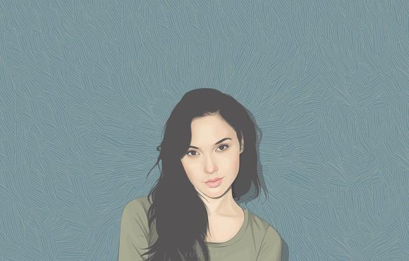 Картинка взгляд, девушка, лицо, волосы, рисунок, art, Галь Гадот, Gal Gadot