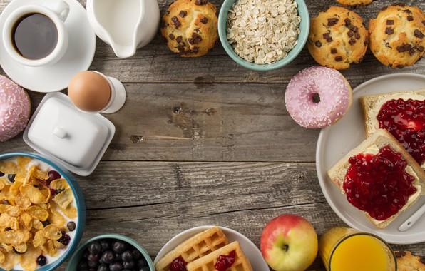 Картинка кофе, яйца, завтрак, пончики, кексы