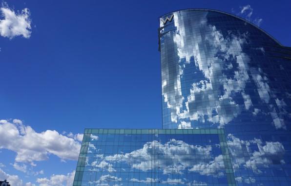 Картинка небо, облака, отражение, здание, Испания, Барселона, Barcelona, Spain, W Barcelona Hotel