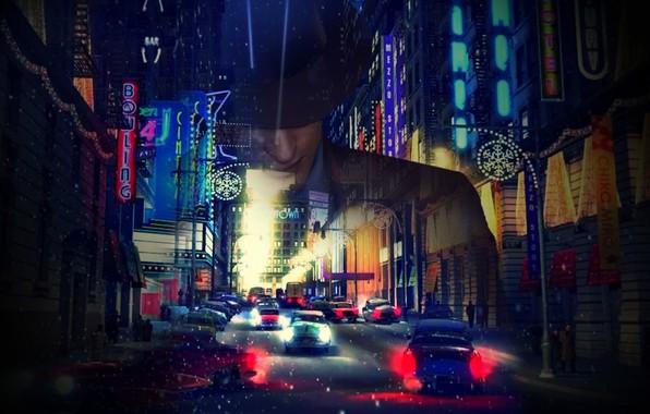Фото обои mafia 2, город, мафия 2, vito scaletta, вито скалетта, снег, ночь