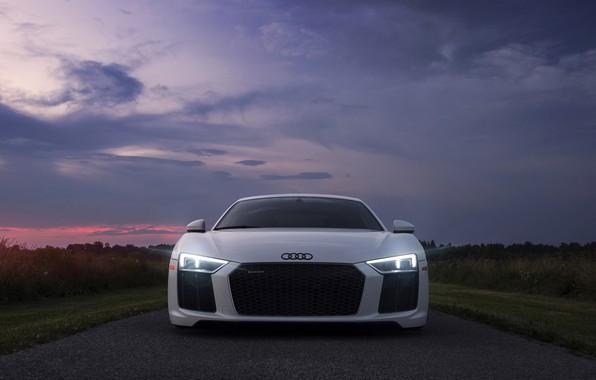 Картинка небо, свет, Audi, фары, вечер, утро, Audi R8
