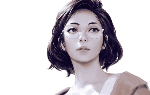 Картинка стрижка, очки, белый фон, шея, art, взгляд вверх, портрет девушки, Guweiz