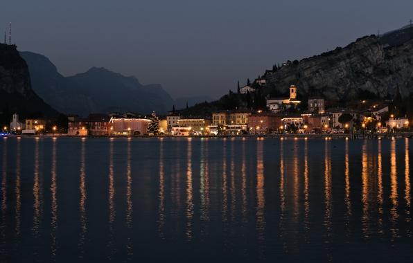 Картинка Italy, night, mountains, lake, chapel, Torbole, Garda Lake, fog. Chirstmas