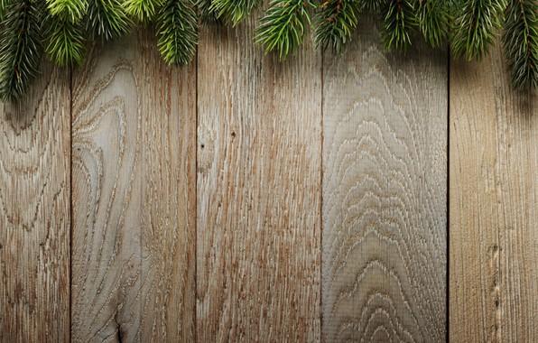 Картинка ветки, фон, доски, елка, Christmas, wood, background, еловые