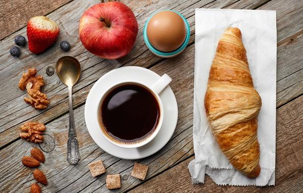 Картинка яблоки, кофе, завтрак, орехи, breakfast, круассан
