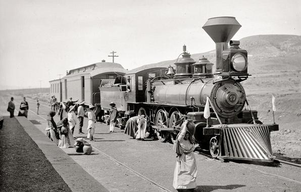 Картинка ретро, поезд, паровоз, США, полустанок, 1890-й год