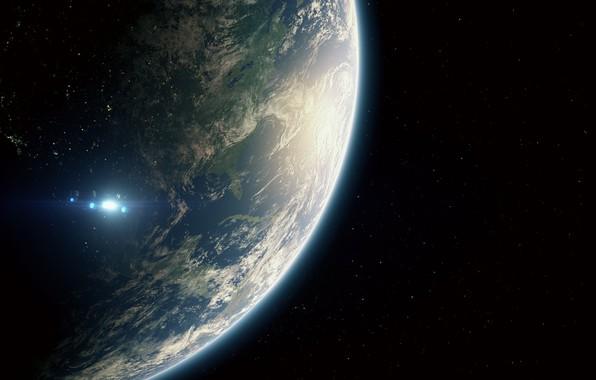 Картинка Космос, Звезда, Земля, Star, Space, Earth, Земля 2.0