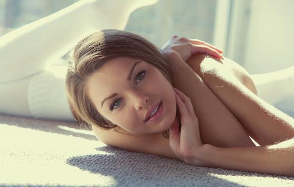 Картинка взгляд, лицо, girl, шатенка, model, Michelle Jean