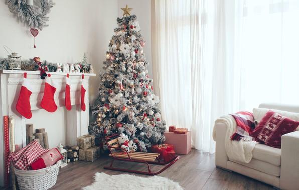 Картинка праздник, елка, Новый год, камин, New Year
