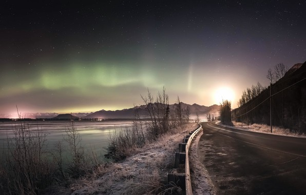 Картинка дорога, ночь, сияние