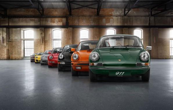 Картинка colorful, Porsche, vintage, cars, Porsche 911, evolution, color, loft