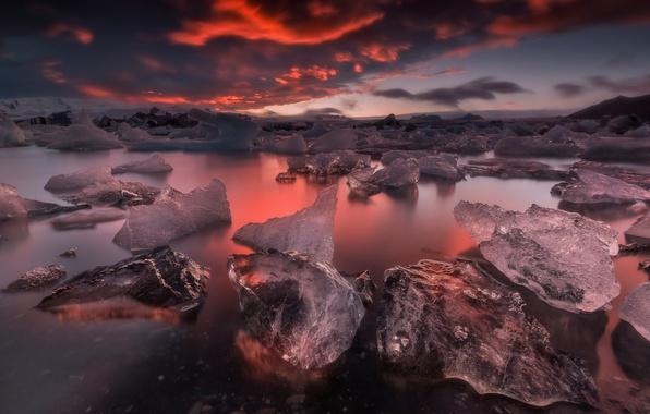 Картинка небо, облака, закат, природа, лёд, вечер, Исландия