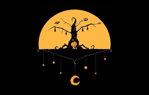 Картинка Halloween, moon, minimalism, stars, tree, baby, holiday, digital art, teddy bear, artwork, pumpkin, bats, black …