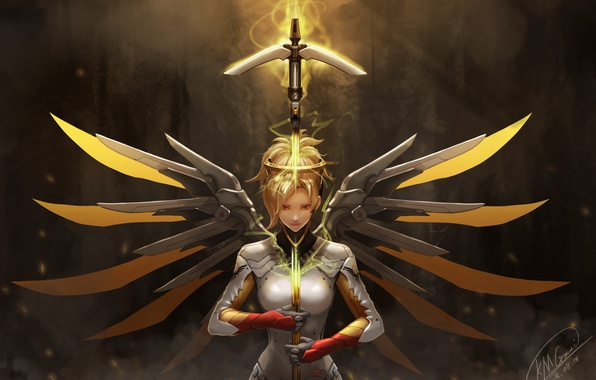 Картинка девушка, оружие, крылья, overwatch, mercy, kmgmai