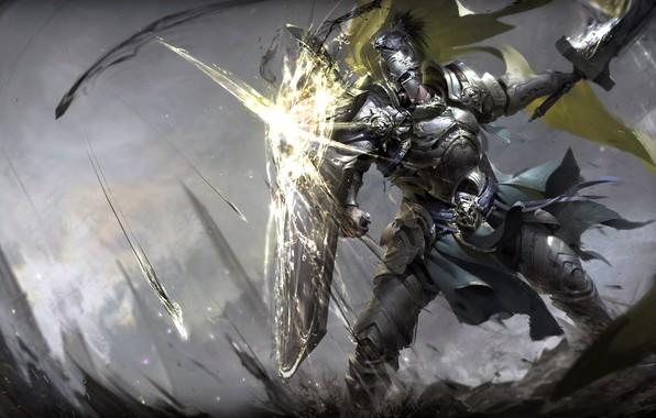 Картинка sword, fantasy, soldier, armor, weapon, Warrior, battle, digital art, artwork, shield, fantasy art, knight, helmet