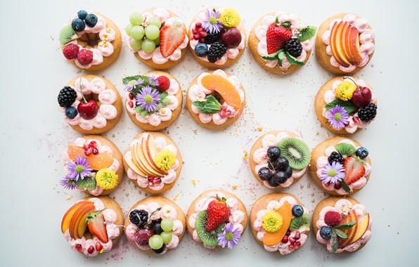 Картинка цветы, ягоды, украшение, пирожное, фрукты, крем, десерт, выпечка, сладкое