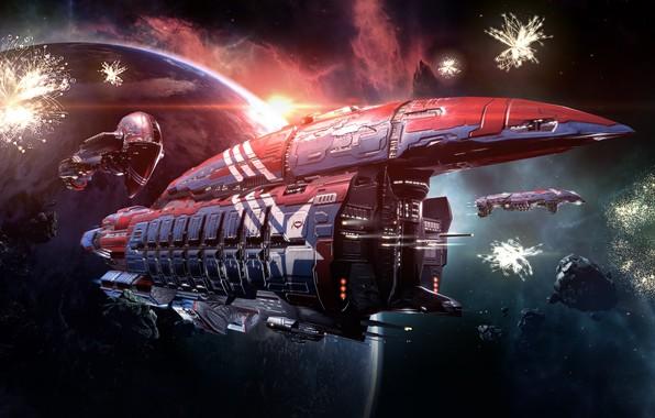 Картинка space, fantasy, game, nebula, spaceship, cosmos, planet, digital art, EVE Online, EVE, asteroids
