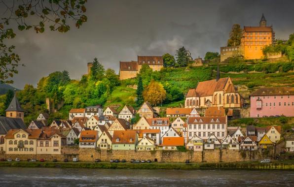 Картинка осень, река, здания, дома, Германия, Germany, Гессен, Neckar River, Hesse, Хиршхорн, Hirschhorn, Река Неккар