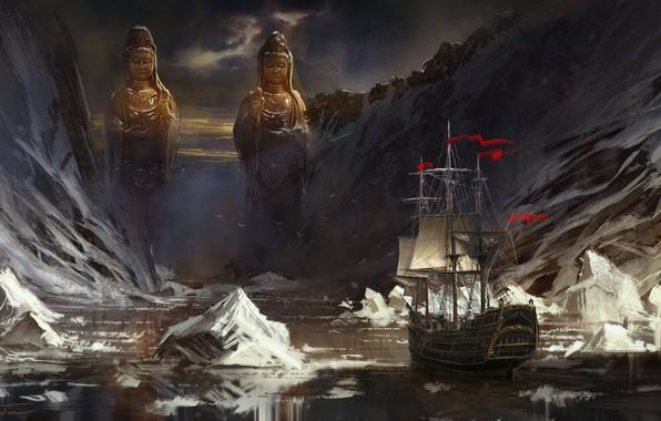 Картинка море, горы, корабль, парусник, льды, статуи, фрегат, айсберги, Jude Smith, Red Flags